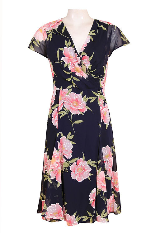 Shelby & Palmer (SIZE 6) Cap Sleeve Floral Chiffon Dress