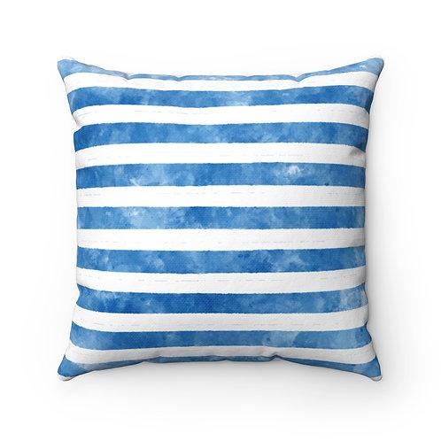 Nautical Blue Striped Spun Polyester Square Pillow