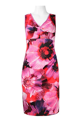 Adrianna Papell V-Neck Sleeveless Zipper Back Floral Print Scuba Dress