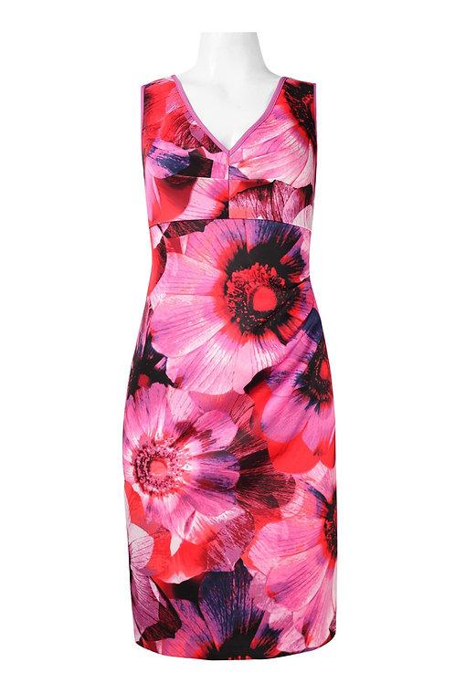 Adrianna Papell V-Neck Sleeveless Zipper Back Floral Print Scuba Dress