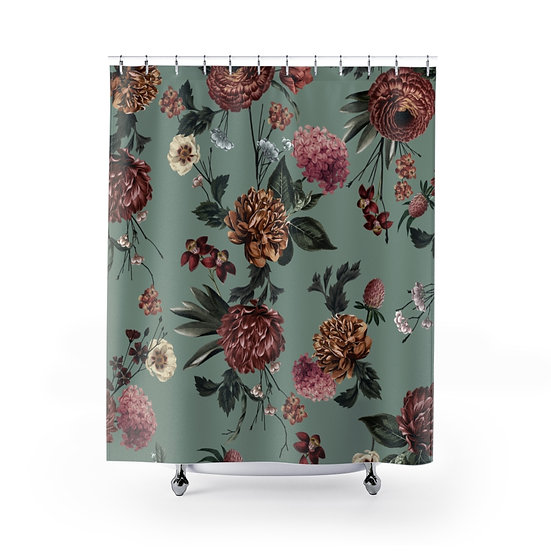 Flowers onSage Green Shower Curtains