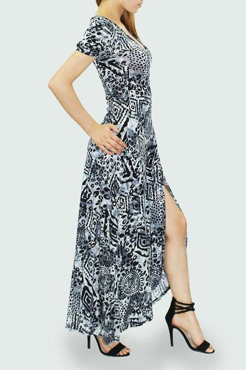 V neck short sleeve long dress Black