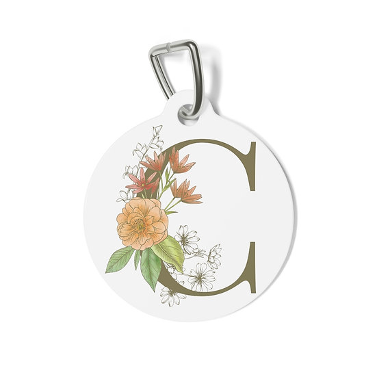 Personalized Floral Pet Tag - C
