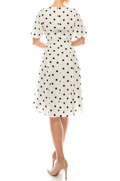 Gabby Skye Ivory Black Polka Dotted Empire Waist Dress