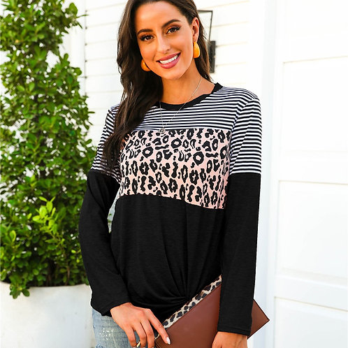 Long Sleeve Patchwork Leopard Stripe Tshirt
