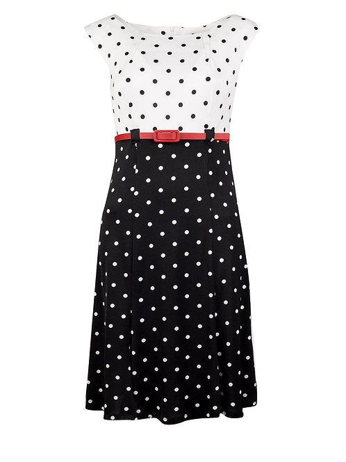 Shelby & Palmer Pleated Neckline High Waisted Polka Dot Jersey Dress