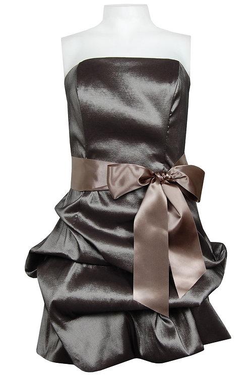 NV Couture Strapless Iridescent Taffeta Dress with Bustled Hem<br>