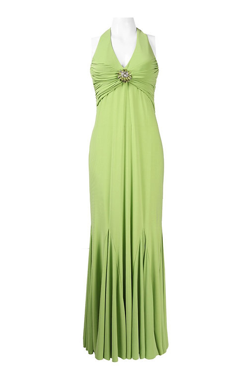 Cachet Halter Neckline Open Back Brooch Front Jersey Dress