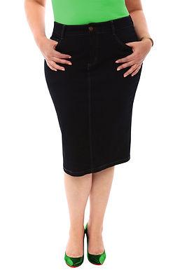 360 Stretch Knee Length Pencil Skirt in Black Onyx