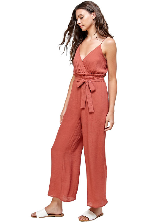 AO SOLID JUMPSUIT V NECK WITH STRAPS