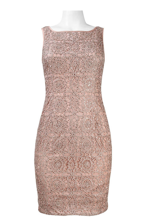 Adrianna Papell Sleeveless Sequin Detail Metallic Crochet Lace Petite SizesDress
