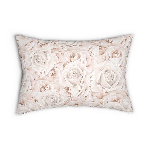 Bed of Blush Roses Spun Polyester Lumbar Pillow