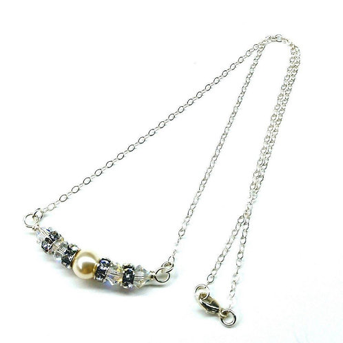 Silver Swarovski Crystal Pearl Bar Bridal Necklace