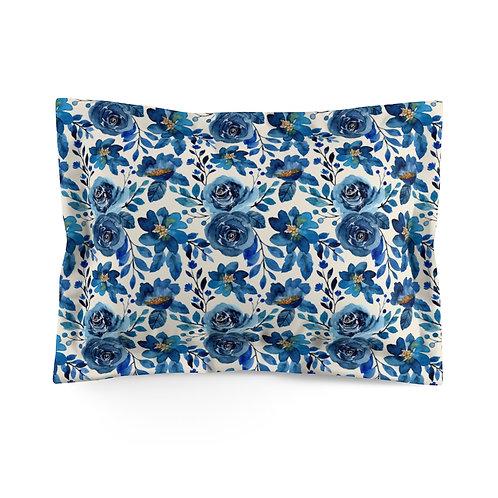 Blue Roses Microfiber Pillow Sham