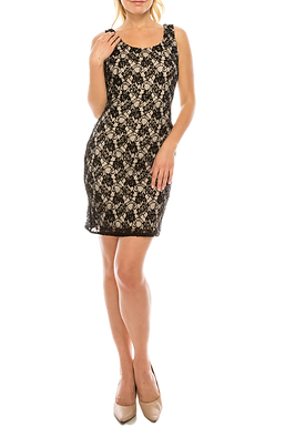 Adrianna Papell Black Nude Beaded Lace Bodycon Dress
