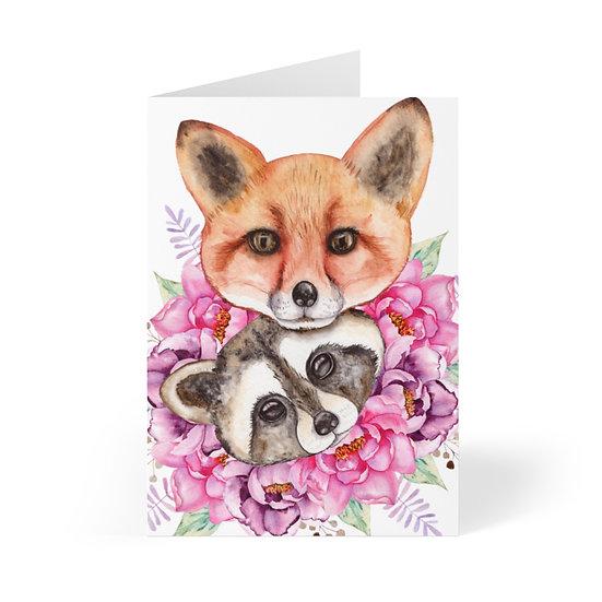 Fox and Raccoon Love Greeting Cards (8 pcs)