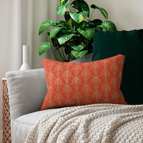 Gold Art Deco/Cinnabar Spun Polyester Lumbar Pillow