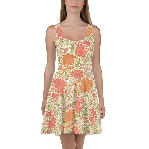 Golden Summertime Flowers Skater Dress