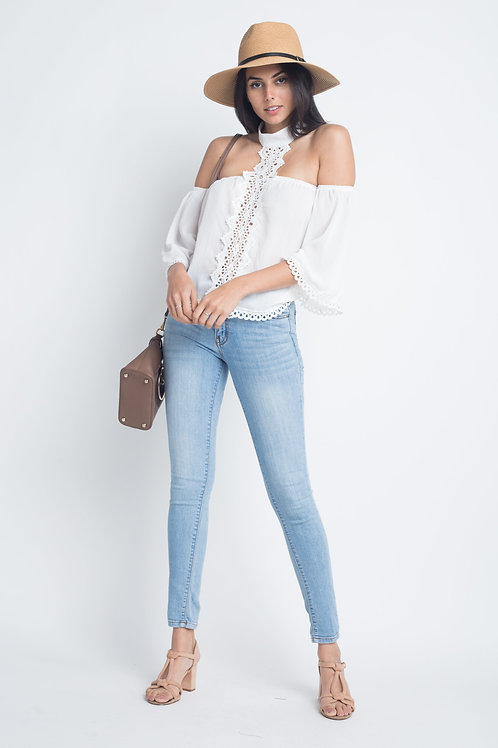 Women's High Neck Long Sleeve Crochet Top