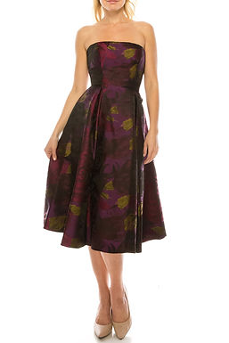 Adrianna Papell Strapless Empire Waist Pleated A-Line Brocade Floral