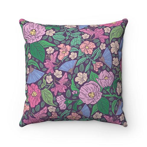 Lavender Fans and Flowers Faux Suede Square Pillow
