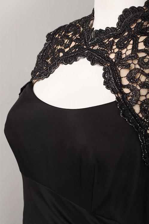 Alex Evenings Closed Neck Cutout Lace Front Draped Mesh Dress (Petite)