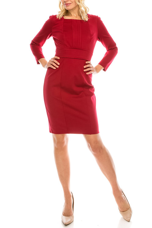 Adrianna Papell Day Square Neck Long Sleeve Zipper Back Ponte Dress