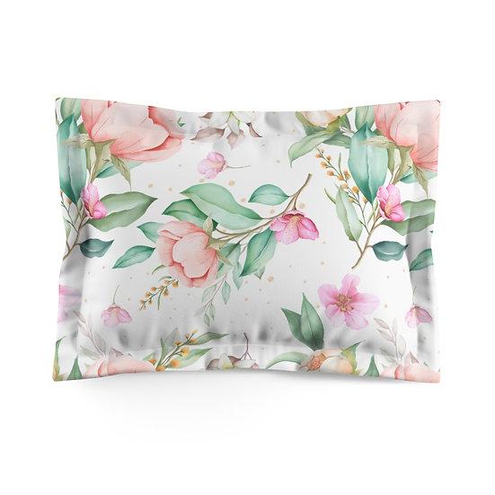 Blush Rose Garden Microfiber Pillow Sham