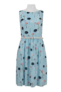 Adrianna Papell Day Boat Neck Sleeveless Belted Multi Print Chiffon
