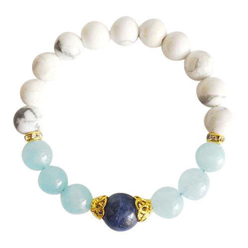Aquamarine, Sodalite and White Howlite Gold Filled Bracelet