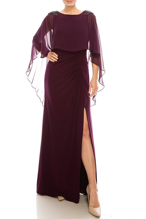 Adrianna Papell Shiraz Long Sheath Cape Gown with Ruching