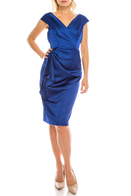 London Times Azure Blue Satin Draped & Gathered Sheath Dress