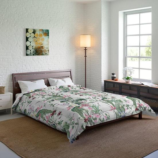 Peacock Flower Jungle Comforter