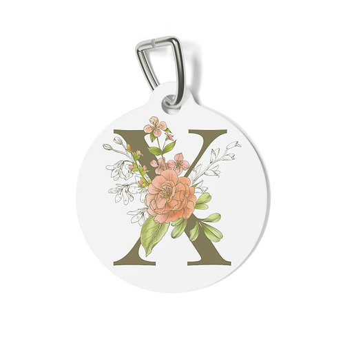 Personalized Floral Pet Tag - X