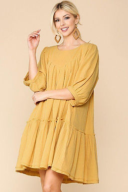 3/4 Sleeve Pocket Ruffle Pintuck Swing Dress