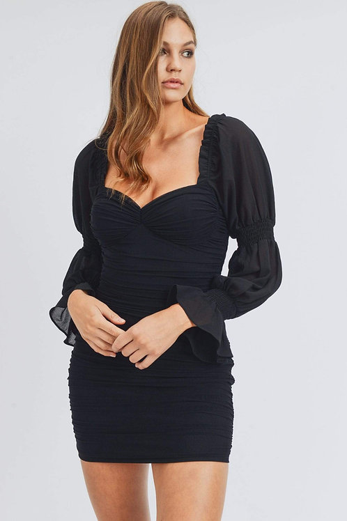 Black Long Puff Sleeve Ruched Mini Dress