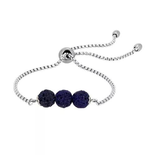 Dark Blue Triple Lava Stone Charm Bracelet