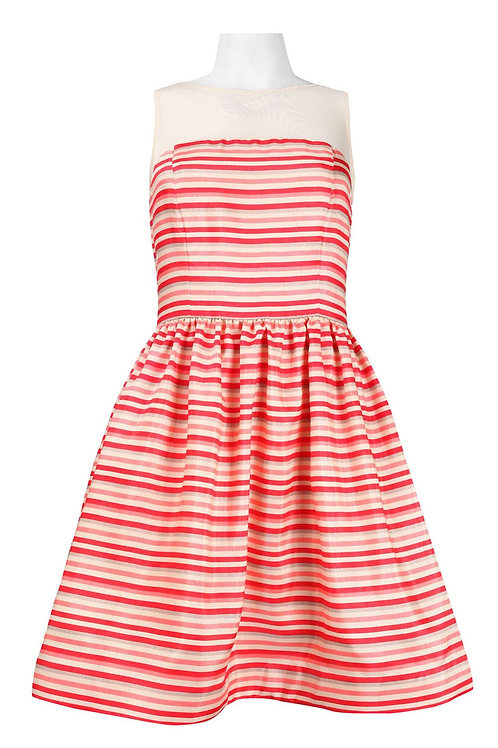 Sleeveless Illusion Neckline Zip Closure Striped Fit and Flare