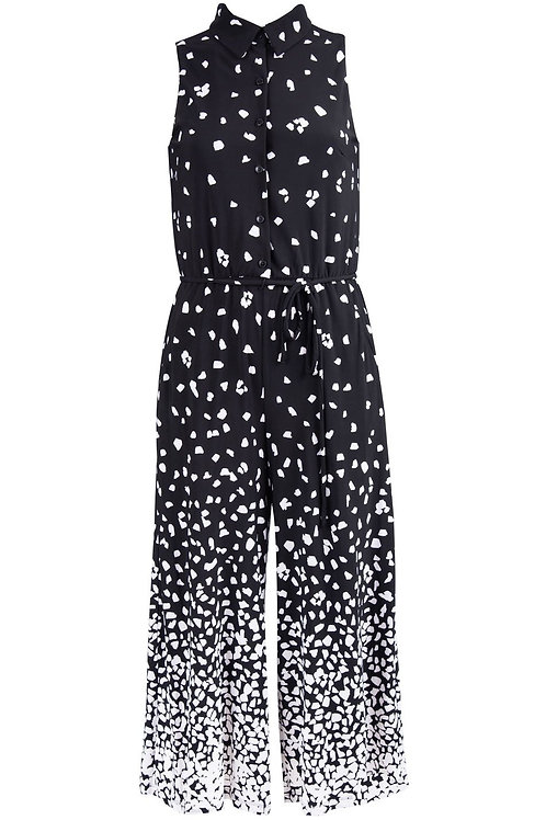 London Style Abstract Print Sleeveless Collared Button Front Jumpsuit