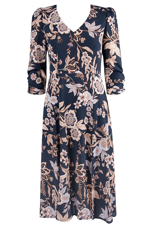 Eliza J Crepe Floral Print 3/4 Sleeve Midi Dress