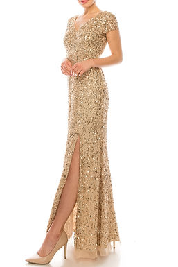 Adrianna Papell Champagne Gold Sequined Gown with Front Slit
