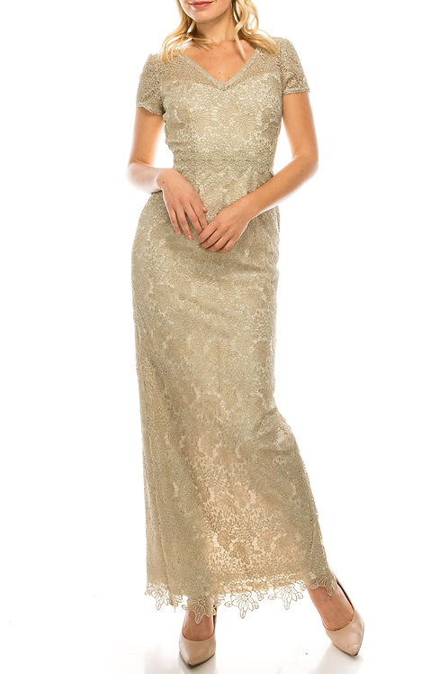 Adrianna Papell Gold Lace Long Column Evening Dress