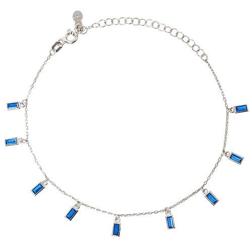 Baguette Lapis Dark Navy Blue Bracelet Silver