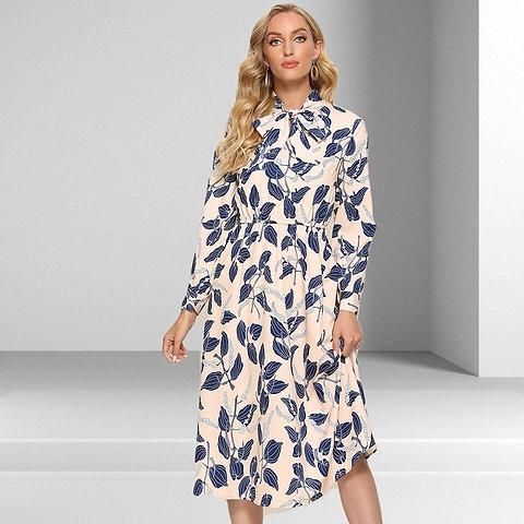 Spring Long Sleeve Mid Length Dress 2021
