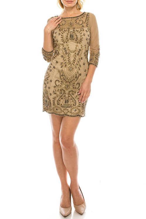 Adrianna Papell Taupe Filigree Patterned Decorated Mesh Evening Dress