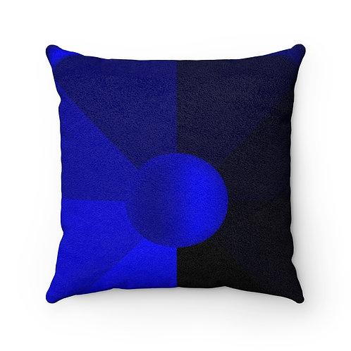 Blue Evening Faux Suede Square Pillow