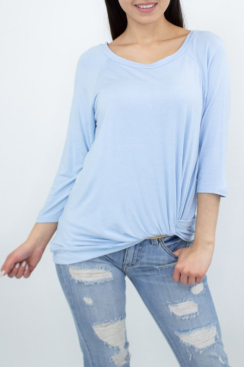 Twisted Front Comfortable Top - Blue