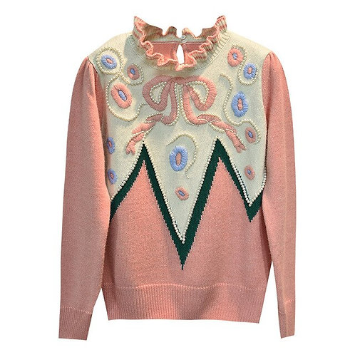 Pink Floral Embroidery Sweater 2020 Autumn/Winter