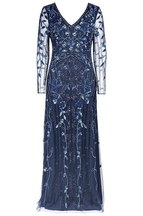 Aidan Mattox Floral Beaded Gown