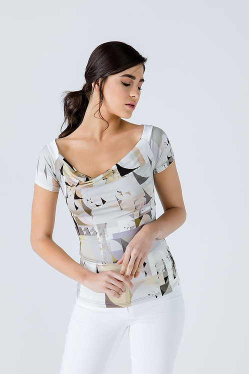 Print Drape Neck Top